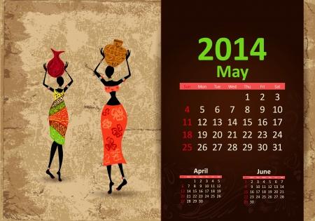 fashion week: Ethnic Calendar 2014 may Illustration