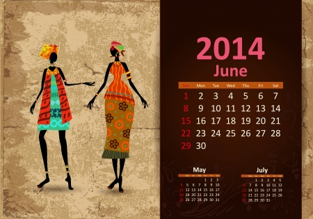 Ethnic Calendar 2014 june Vector