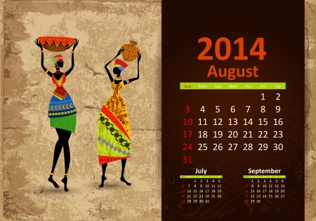 Ethnic Calendar 2014 august 일러스트