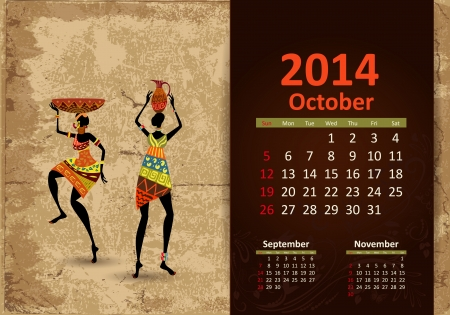 Ethnic Calendar 2014 october Vector