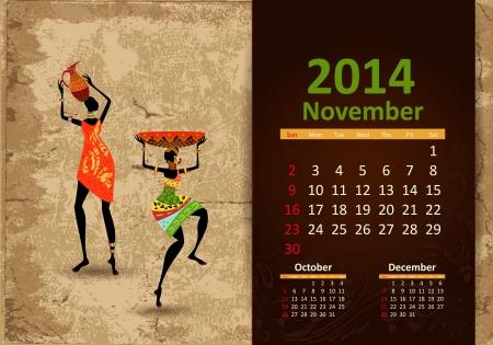 Ethnic Calendar 2014 november Vector