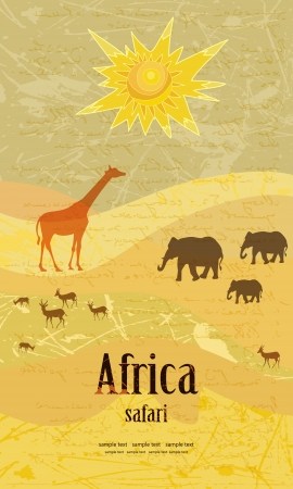 season greetings: Vintage design for a safari Illustration