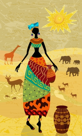 Africans on the vintage background for your design Vector