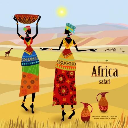 山の風景の中のアフリカの女性  イラスト・ベクター素材