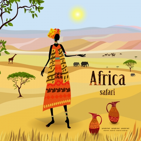 kenya: African women in mountain landscape