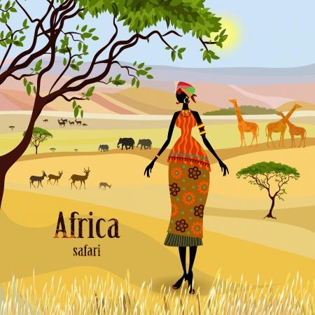 tribales: Las mujeres africanas en paisaje de montaña