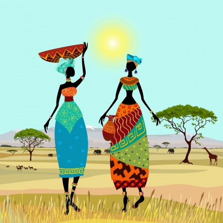 african village: African women in mountain landscape