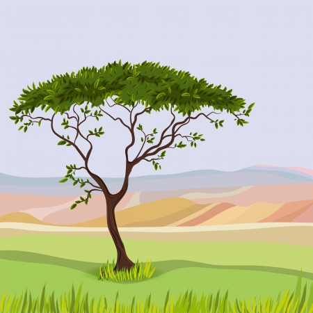 Mountain idealistic natural landscape Vector