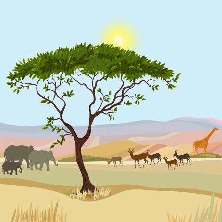 safari cartoon: African Mountain idealistic landscape