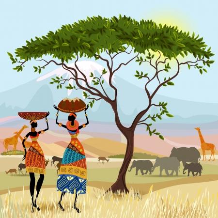 arte africano: Las mujeres africanas en paisaje de monta�a
