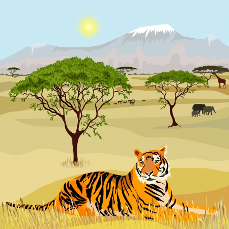 idealistic: African Mountain idealistic landscape with tiger