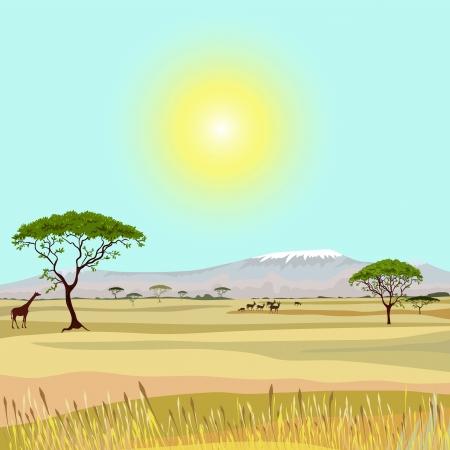 アフリカの山の理想主義的な風景