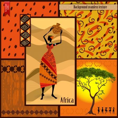 cuadros abstractos: Chica africana vestida en un decorativo
