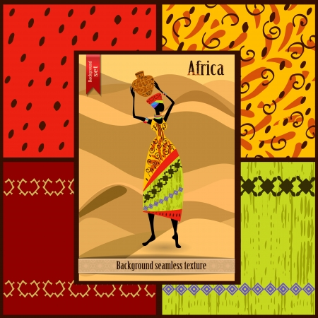 Set of seamless textures with African woman Stock Vector - 22749269
