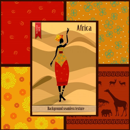 Set of seamless textures with African woman Vector