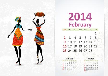 Ethnic Calendar 2014 February Vector
