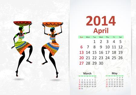 Ethnic Calendar 2014 april Stock Vector - 22749279