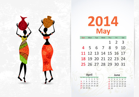 Ethnic Calendar 2014 may Vector