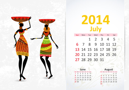 Ethnic Calendar 2014 july Vector