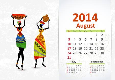Ethnic Calendar 2014 august Vector