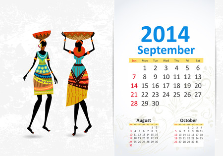 Ethnic Calendar 2014 september Stock Vector - 22749284