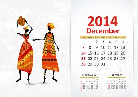 Ethnic Calendar 2014 december Vector
