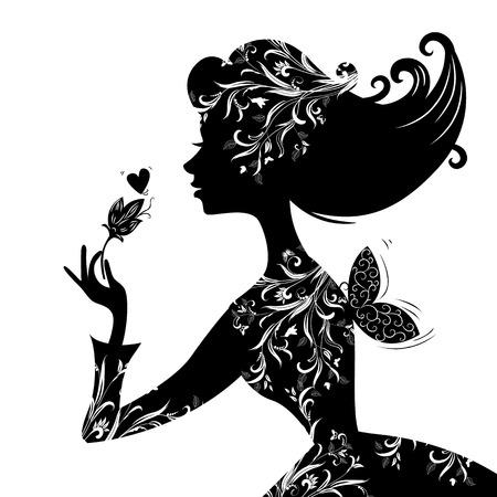 Silhouet van een mooie stijlvolle vrouw Stock Illustratie