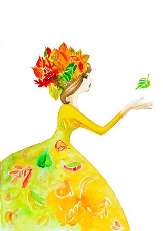girl floral watercolor 版權商用圖片
