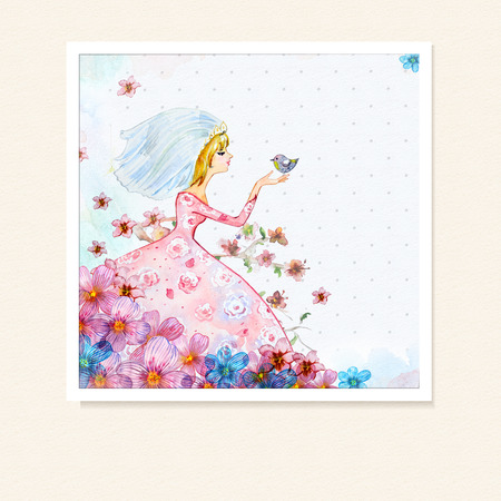 Girl in flowers watercolor photo