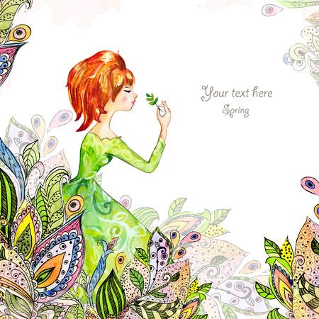 paintings: Girl in flowers watercolor