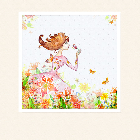 Card girl in flowers watercolor photo