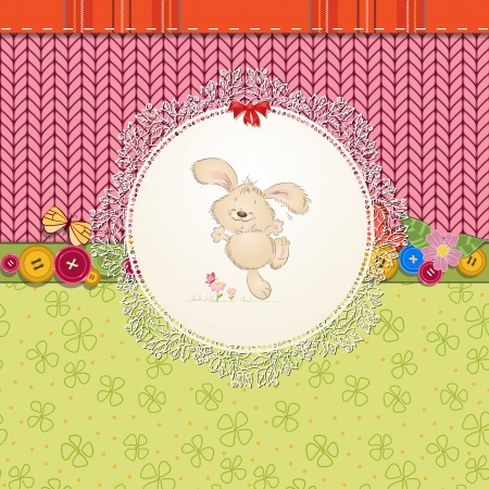 pink butterfly: card with teddy rabbit for your design