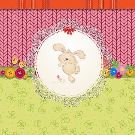 papillon rose: carte avec le nounours de lapin pour votre conception