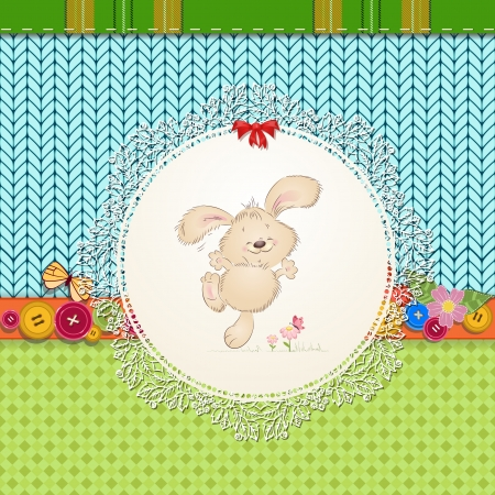 card with teddy rabbit for your design Stock Vector - 23836363