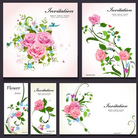 Set of floral cards for your design