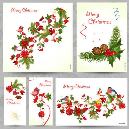 あなたの設計のための花のカードのセット  イラスト・ベクター素材