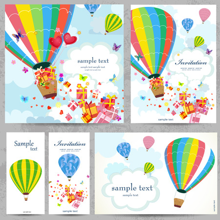 hot air balloon: Set holiday cards for your design Illustration