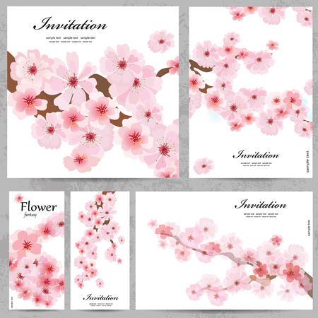Set of floral cards for your design Vector
