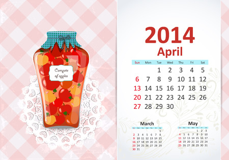 Calendar for 2014, april Vector