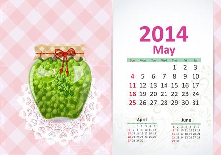 Calendar for 2014, may Vector