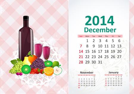 Calendar for 2014, december Vector