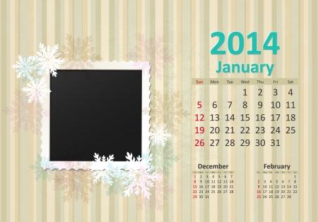 Calendar for 2014, january Vector