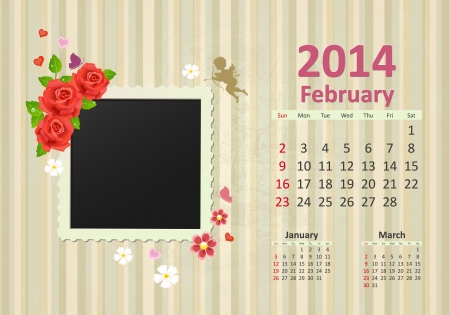 Calendar for 2014, february Vector