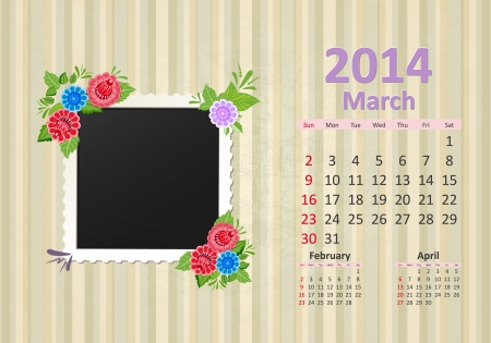 Calendar for 2014, march Vector