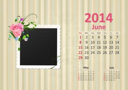 Calendar for 2014, june Vector
