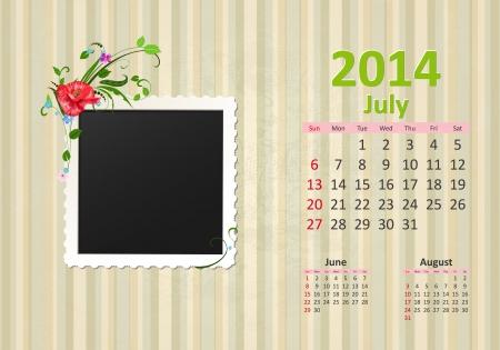 Calendar for 2014, july Vector