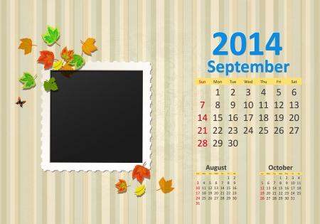 Calendar for 2014, september Vector