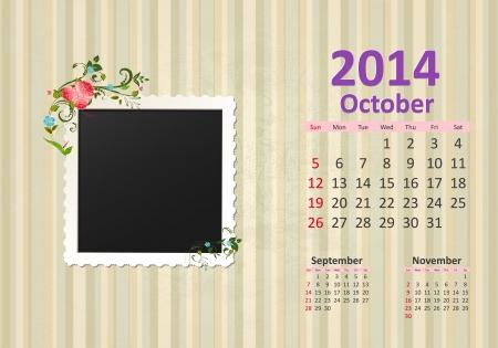 Calendar for 2014, october Vector