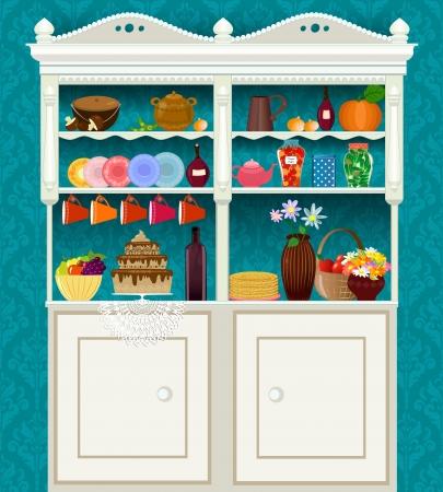 armarios: Aparador retro de la vendimia con los platos y los alimentos