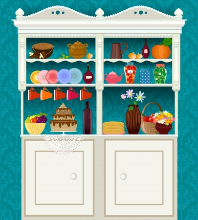 retro vintage sideboard with dishes and food Vector